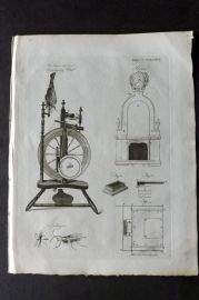 Encyclopaedia Britannica 1797 Antique Print. Spinning Wheel, Stove 474